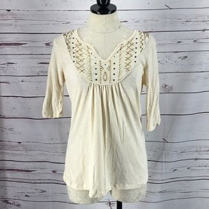 Reba Brand Beige Beaded 3/4 Sleeve Top